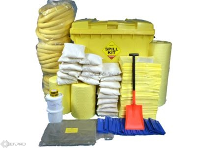 1100 Litre Chemical Spill Kit in Roll-Top Wheeled Bin