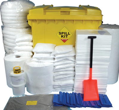 1100 Litre Oil and Fuel Spill Kit in Mobile Roll Top Bin