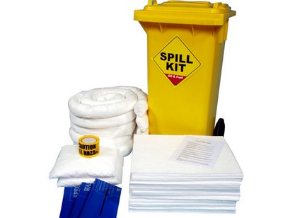 125 Litre Oil and Fuel Only Spill Kit in Wheeled Bin