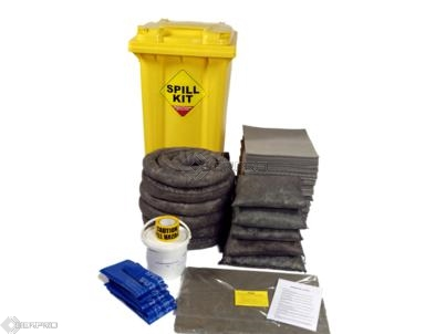 250 Litre General Purpose Spill Kit with Drain Plug in Wheeled Bin